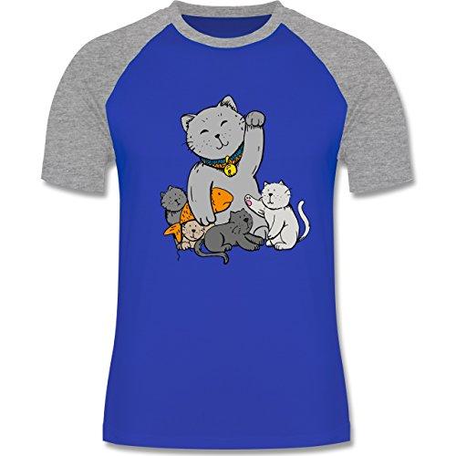 Weihnachten & Silvester - Winkekatze - zweifarbiges Baseballshirt für Männer Royalblau/Grau meliert