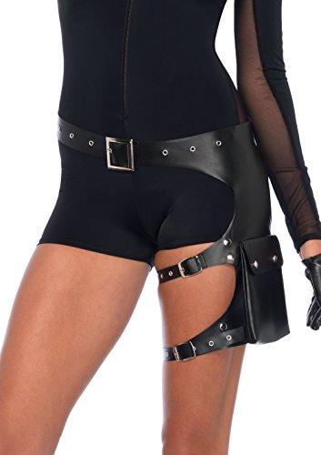 Leg Avenue Kostüm Zubehör Garter Utility Belt Gürtel mit Oberschenkel Taschen schwarz