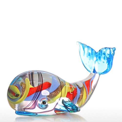 Glass tooarts ornaments shaped like a small cat and fish, glass ornament shaped like hand-blown animals for home., Colorful Whale