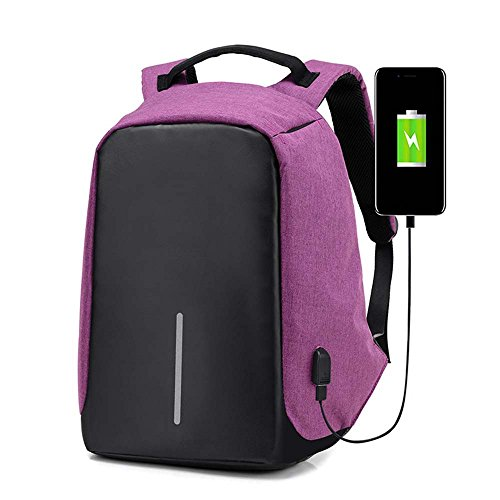 Zaini Computer portatile studente di economia con porta USB di ricarica Anti-Theft PC Borse scuola Laptop (Porpora)