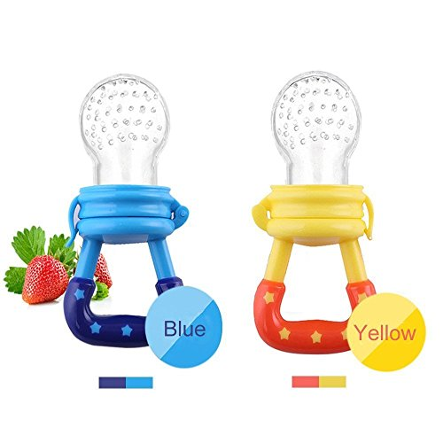 Baby Silicone Teething Toy-Fresh Fruit Food Feeder Soother with Handgrip Baby Food Bag Baby Teether with Nipple Food Infant Feeding Toys with Teat-Pacifier for Boys and Girls-2 PCS (Blue,Yellow)