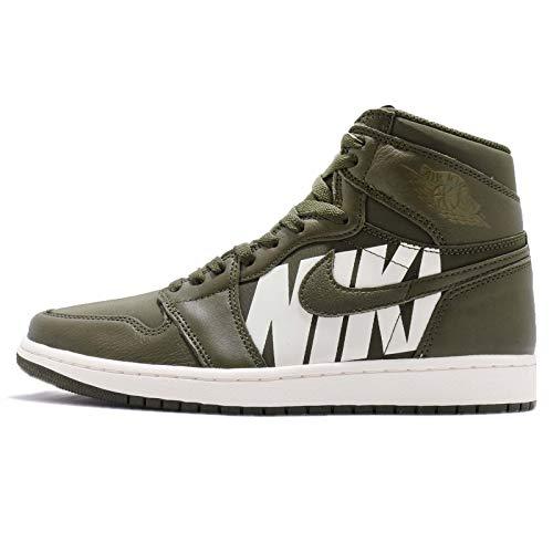 Nike Air Jordan 1 Retro High Og Herren Basketball Trainers 555088 Sneakers Schuhe (UK 13 US 14 EU 48.5, Olive Canvas Sail 300) (Jordan Schuhe Männer Retro 13)
