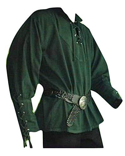 Camisa De Manga Larga Encaje Cuello En V Pirate Renaissance Gótico Medieval para Hombres Verde 2XL