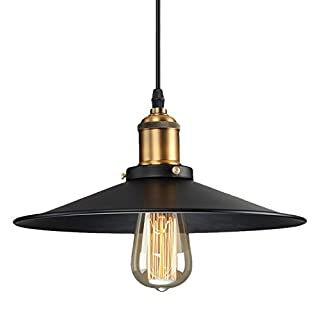 Asvert Vintage Pendant Light Small Retro Industrial Lighting Iron Metal Shade with Antique Brass Base Ceiling Hanging Lamp for Dinning Room Restaurant Bar Bookstore Hallway, Edison E27 Lamp