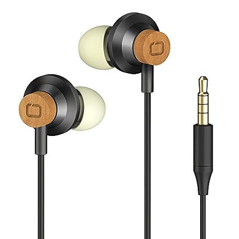 OMARS® Earphones Premium Cherry-Wood Heaphones with High Definition, 3.5mm Jack,