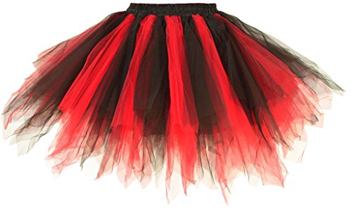 Dancina Damen Petticoat 50er Jahre Vintage Tutu Tüllrock Rot / Schwarz (Modern Schwarz Kostüme Dance)