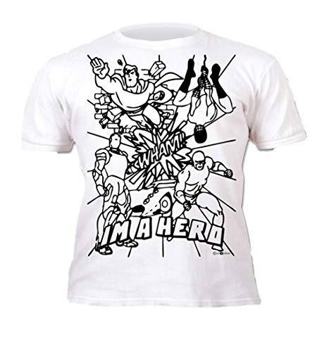 armona Kinder Färbung Stifte Paint Stoff T-Shirt Basteln Strumpffüller - Superheld, 104 (Basteln Superhelden Kinder Für)