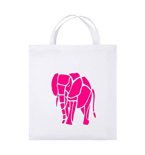 Comedy Bags - ELEFANT - Jutebeutel - kurze Henkel - 38x42cm - Farbe: Schwarz / Weiss Weiss / Pink