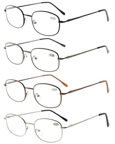 Eyekepper Occhiali da Lettura in Metallo Leggero Aste di Cerniere a Molla Occhiali da Presbite per Uomo Donna (1 paio per ogni colore) Diottria +2.25