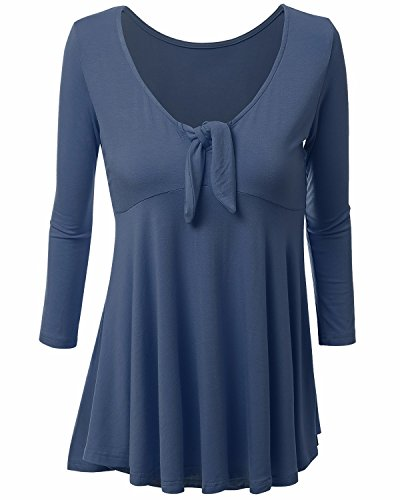 BONESUN Damen Strickhemd Sommer Swing T-Shirt Einfarbige Bluse Oberteil Tops Brust Krawatte S-3XL Blau