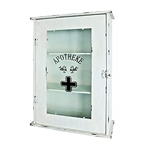Haku Möbel Medizinschrank – Metall antik weiß lackiert – 3 Ablagen H 62 cm