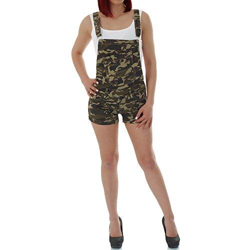 malucas Damen Jeans kurze Hose Overall Jumpsuit Shorts Bermuda Hotpants Slim Fit , Größe:40, Farbe :Mehrfarbig