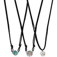 Lux accessori turchese & Camoscio Nero Ciondolo a forma di albero della vita con simbolo della pace Collana Set - Owl Pace