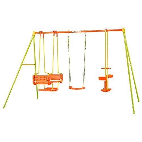 Kettler Schaukel 4 - Gartenschaukel für Kinder - stabile Schaukel Kinder mit insgesamt fünf Schaukelsitzen - mit Brettschaukel, Gondel und Tellerwippe - Qualität MADE IN GERMANY - orange & grün (Schaukel Für Kinder)