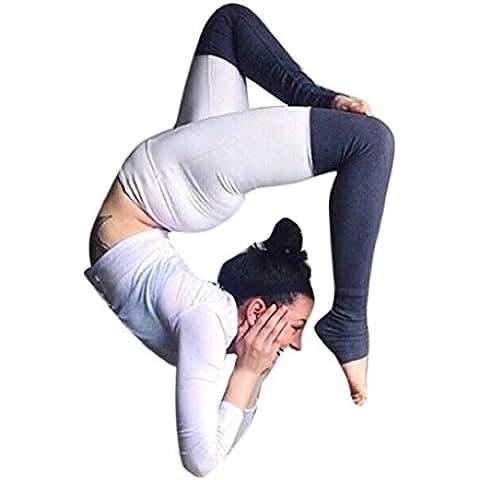 Pantalones mujer deporte Sannysis yoga pantalón chandal running rayas de color
