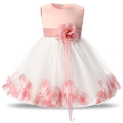 NNJXD Mädchen Tutu Blütenblätter Schleife Brautkleid für Kleinkind Mädchen Größe 4-9 Monate...