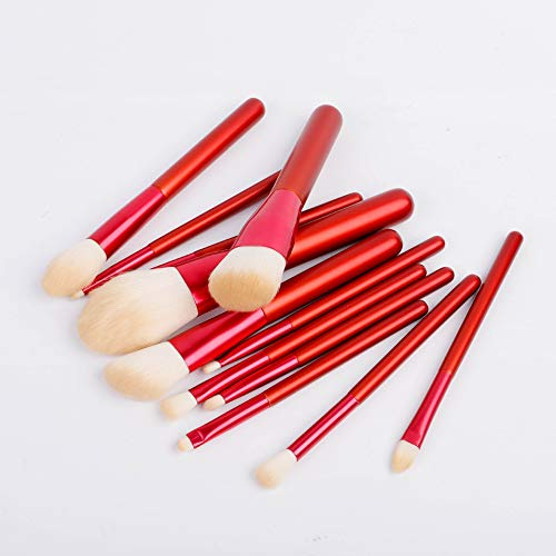 Schminkpinsel Premium 12 Make-up Pinsel Set Nachahmung Wolle Make-up Pinsel Make-up Stift Beauty Tools Chinesischen Stil Retro Tragbare Make-up Pinsel Rot (Color : Red) - Red Premium-wolle
