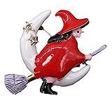 Spille smaltate Halloween Witch Besom Broom Moon Spilla di Natale Regali rossi di Natale per il nuovo anno, 4 * 5.5CM