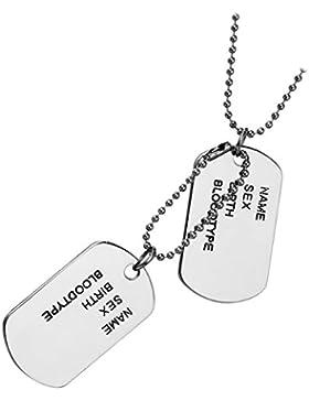 cupimatch Herren Militär Armee Stil Dual Legierung dog tag Anhänger Halskette, 69,8cm Ball Link Kette, Silber