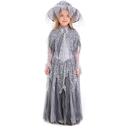 Liny bambini principessa vestito da strega e cappello - ragazze vestiti di halloween carnevale costumi strega vestito,grigio