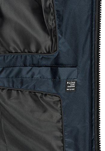 BLEND Gabriel Herren Parka lange Winterjacke mit Kapuze aus hochwertiger Materialqualität Navy (70230)