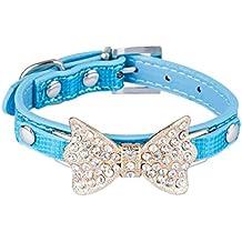 Dan Piel Sintética velocidad suave perro de Bowtie Cuello Azul