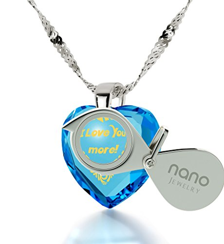 Pendentif Coeur - Bijoux Romantique en Argent 925 avec I Love You More inscrit à l'Or 24ct sur un Zircon Cubique en Forme de Coeur, 45cm - Bijoux Nano Bleu Lagon