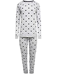 Suzy   Me Womens Cotton Rich Heart Design Pull On Jersey Pyjamas bdbf033b1