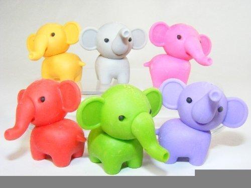 Iwako Japanese Puzzle Erasers - Zoo Animals - 6 NEW Colours Elephant (6pcs) by Iwako