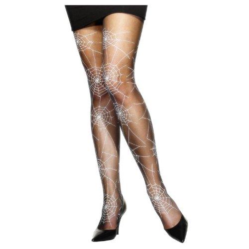e Strumpfhose Spinnennetz Spinne Nylonstrumpfhose Schwarz Schwarze für Damen Halloween Halloweenstrumpfhose (Damen Halloween-strumpfhosen)
