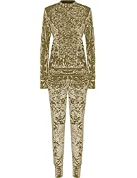 WEARALL Women's Velour Loungwear Suit Ladies Long Sleeve Top Leggings Bottoms Co-Ord Set 8-14