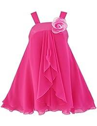 Mädchen Kleid Ärmellos Halfter Blume Multi Schicht Chiffon Gr. 98-158