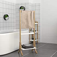 woodluv Modern Free-Standing Bamboo Towel Rack Holder, 3 Rails and 1 Shelf, Clothes Stand - 40 x 28 x 104 cm