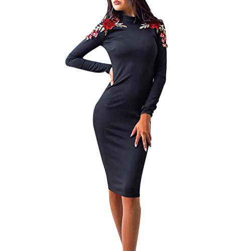 Kleid Casual-hosen (Kleider , Frashing Damen Stickerei Langarm Einteiler Rock Hosen Rock Herbst Rock Casual Embroidery Pencil Dress (Schwarz, XL))