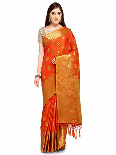 Indian Handicrfats Export Colors Orange & Gold-Toned Silk Cotton Woven Design Saree Color Silk Saree