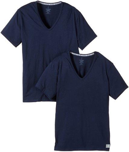 Calvin klein - maglietta con collo a v, uomo, blu (bleu), m