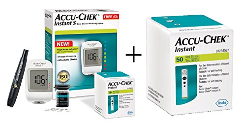 Accu-Chek Instant S Meter with Free 10 Strips and Accu-Chek Instant Strips - 50 Count (White)