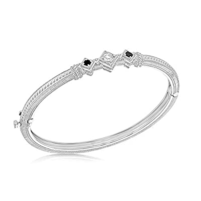 "JUDITH RIPKA Women's ""Renaissance"" 925 Sterling Silver 3 Stone Bangle"