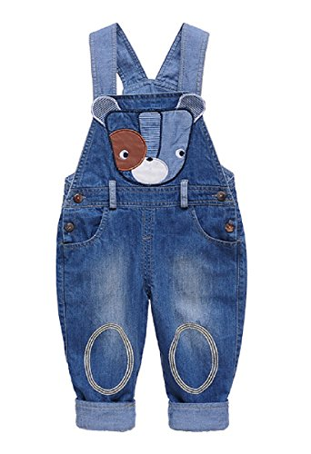 Baby Jungen Mädchen Jeans Latzhose Denim Babyhosen Kids Overall Jeanshose mit Hosenträger Karikatur Cool Hund - 90