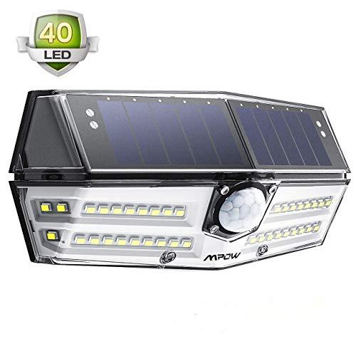 Solarleuchte Außen【NEUE VERSION】Mpow 40 LED Solarlampen für Außen IP67 Wasserdicht 120 ° Weitwinkel Sensorkopf Solarleuchte mit Bewegungsmelder Superhell Solarlampe für Garten, Garage, Balkon, Hof