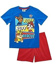 d9821e0240d79 La Pat  Patrouille Pyjama Court Enfant garçon Bleu Rouge de 3 à 8ans