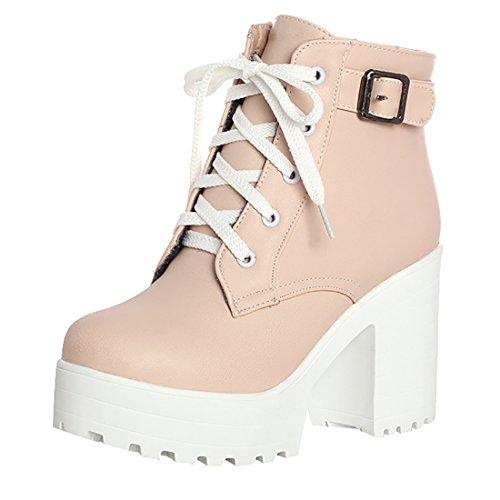 Stiefeletten Schnürung Plateau High Heels Boots mit Schnalle 10cm Absatz Warm Schuhe ()