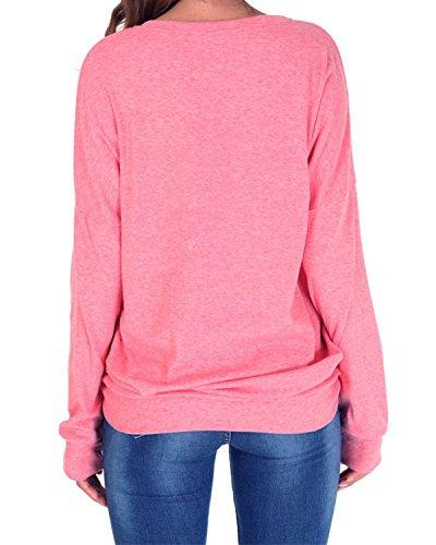 Langarm Sweatshirt Damen Rundhals Pullover Casual Loose Oberteile,einfarbig,Baumwolle,mit Taschen Rosa