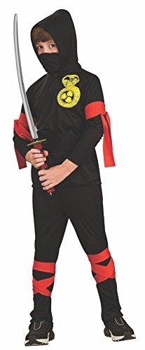 Rubie's bambino ninja costume. grandi 8-10 anni. maglia con cappuccio, maschera facciale, pantaloni e cravatte rosse.