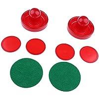 Gazechimp 2pcs Juegos de Air Hockey Pushers Embujadores +4pcs Pucks Discos de Hockey Sobre Hielo Fondo Forrado con Fieltro - Rojo, S