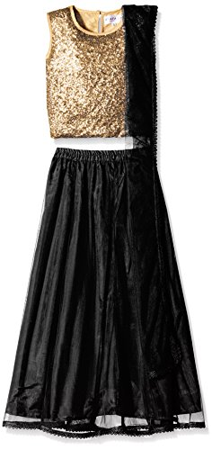 Atayant Girl Lehenga Choli (ATAYK_011_3:4YR_Gold:Black_M)