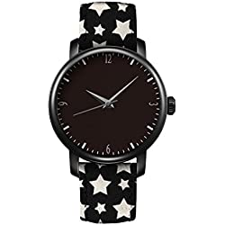 iCreat Ladies Leather Strap Quartz Watch Black Dial Black Case Watchband Design With Cute Black White Stars