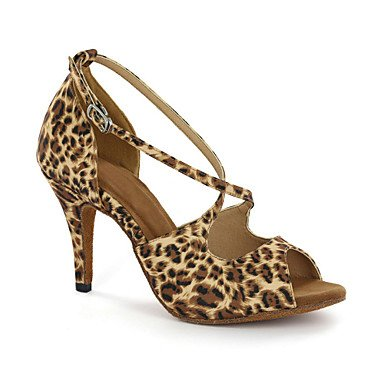 XIAMUO anpassbare Damen Tanzschuhe Latein Kunstleder Ferse Multi-color/Leopard Multi Color