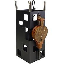 IMEX EL ZORRO 10045 - Juego para chimenea, cuadrado (inox y fuelle, 50 x 20 x 20 cm) color negro