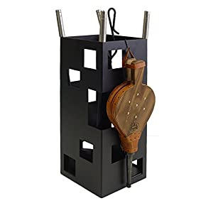 Imex El Zorro 10045 Juego para chimenea, cuadrado (inox y fuelle, 50 x 20 x 20 cm) color negro